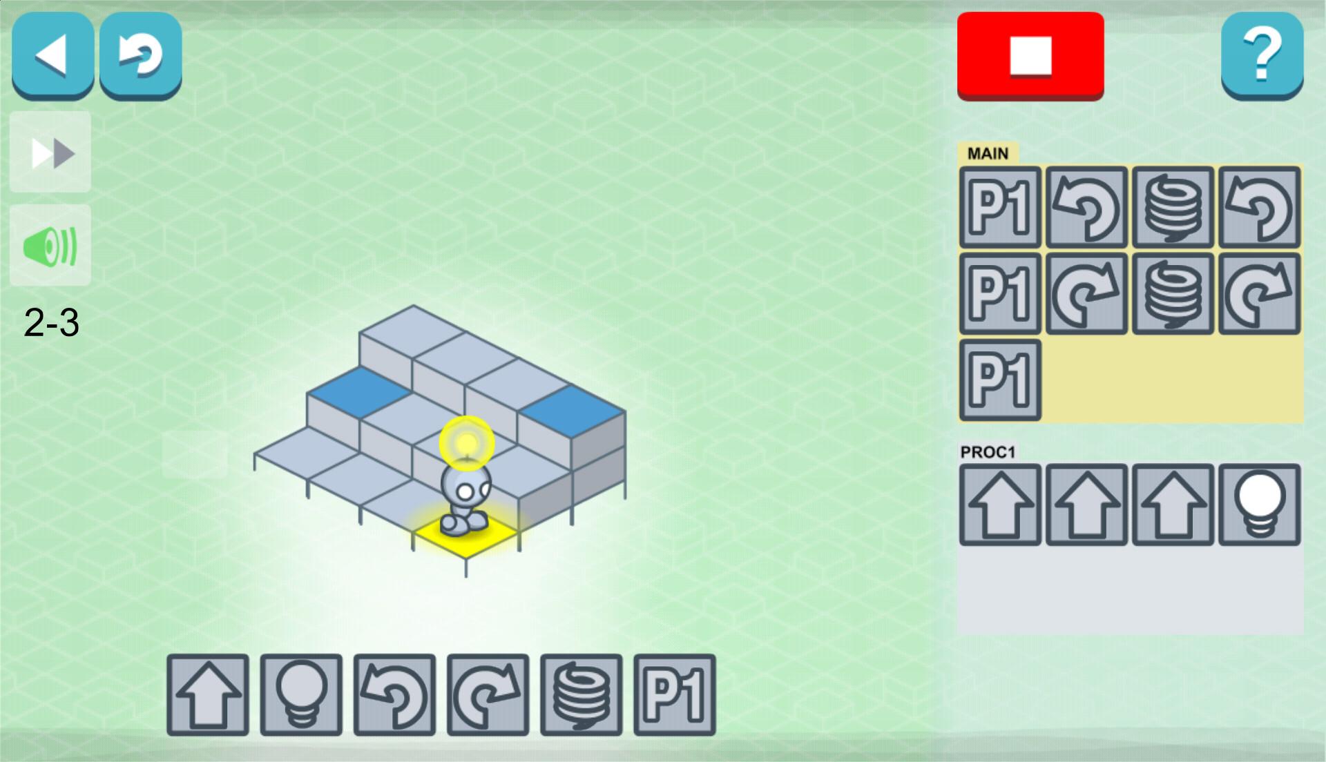 Lightbot level 2-3 s použitím procedúry
