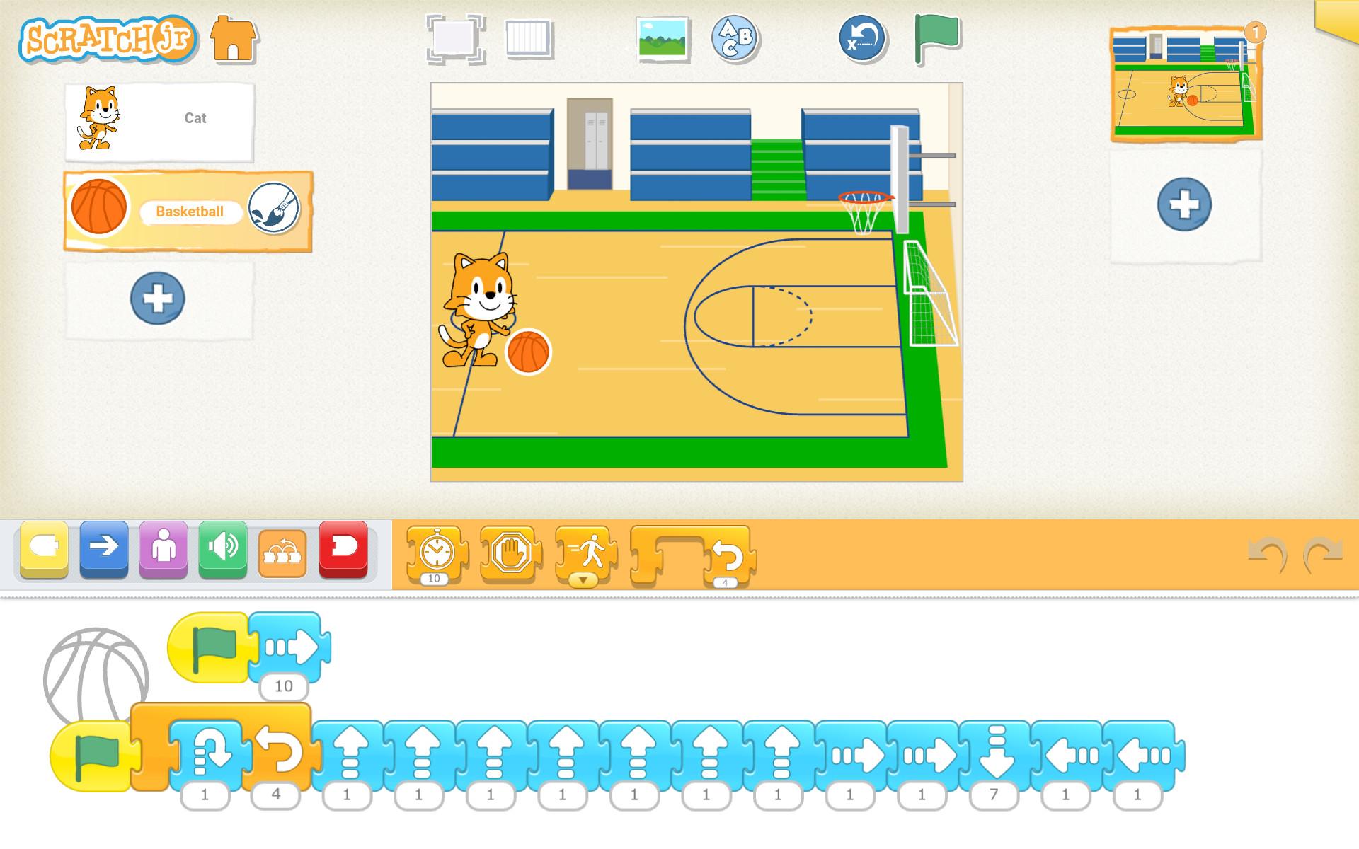 Basketbalový projekt v ScratchJr, ktorý animuje driblovanie loptou