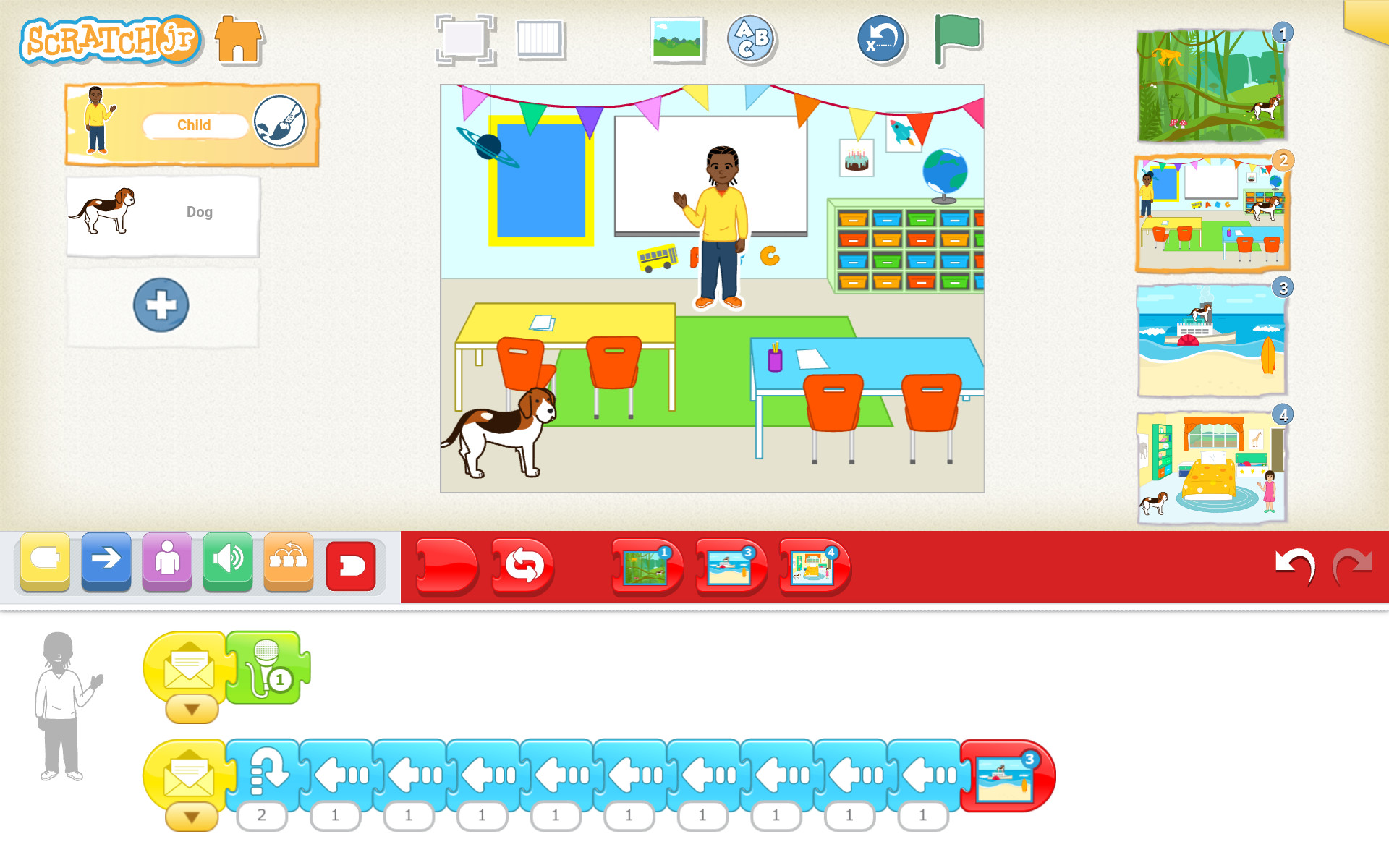 ScratchJr program, kde pes v triede vystraší učiteľa a ten uteká