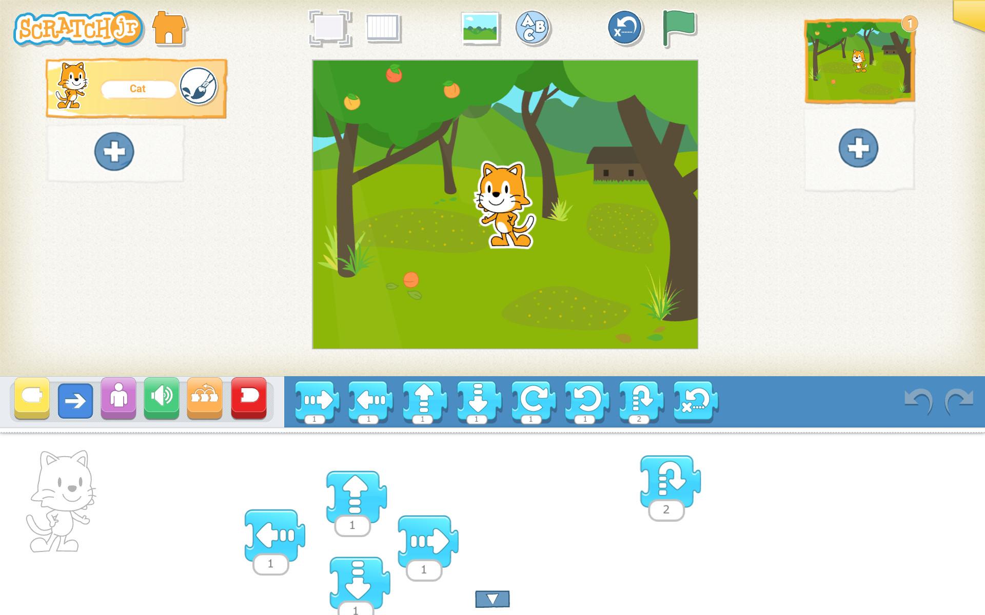 ScratchJr program pozostávajúci z jednotlivých blokov
