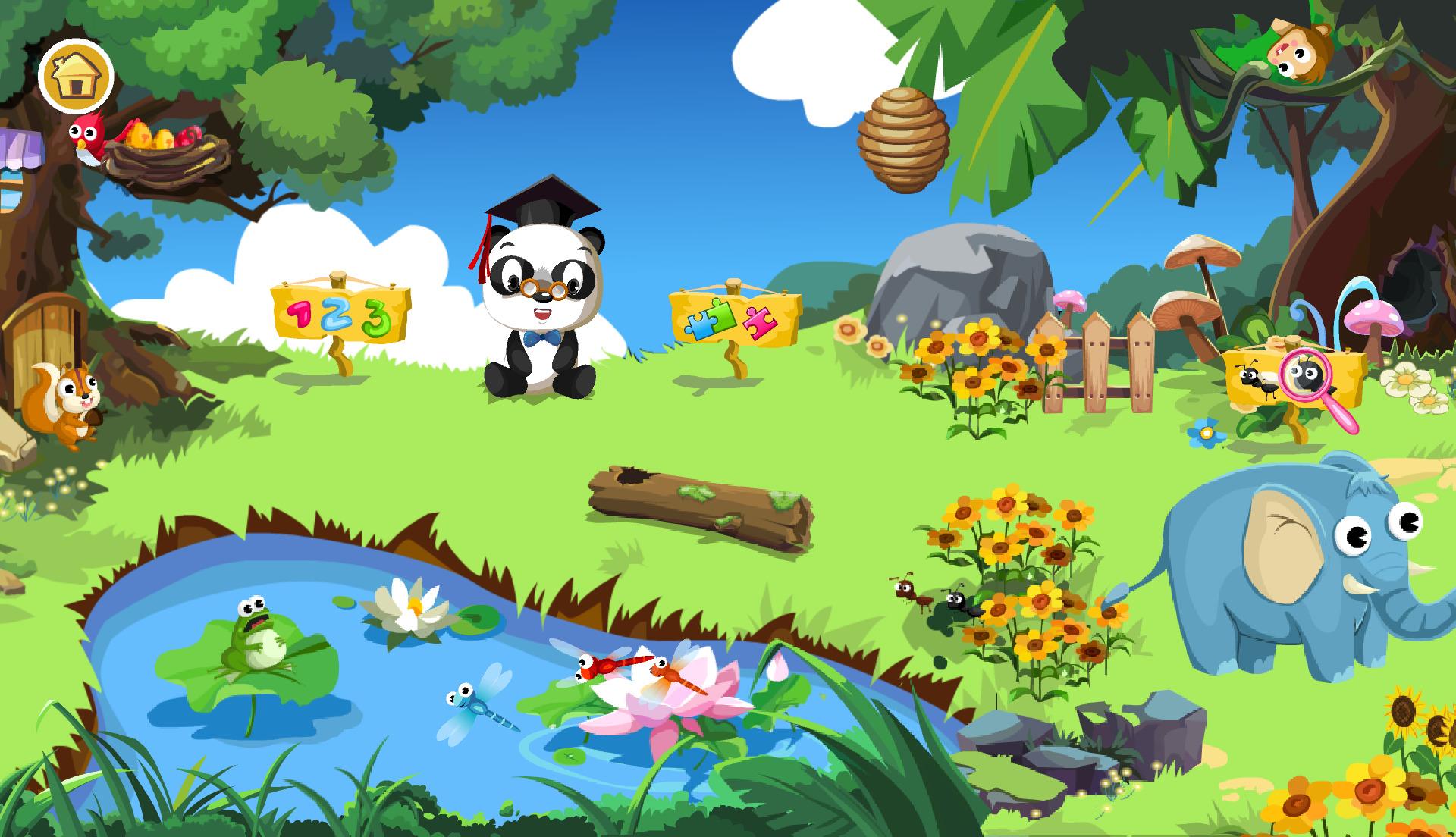 Titulná obrazovka Android hry Dr. Panda Teach Me s množstvom objektov reagujúcich na dotyk
